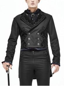 Front Floral Webbing Metal Retro Button Black Gothic Weft Velveteen Tailcoat