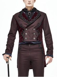 Front Floral Webbing Metal Retro Button Wine Red Gothic Weft Velveteen Tailcoat