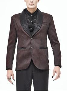Front Metal Retro Button Metal Nail Cuff Dark Red  Gothic Jacquard Coat