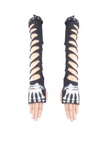 Metal Eyelet Strap Hand-Painted Devil'S Claw Patterns Black Punk Broken Holes Knit Women Gloves