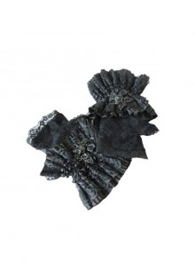 Skull Butterfly Metal Clasp Black Gothic Rose Lace Mesh Gloves
