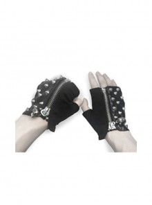 Ghost Head Pendant Metal Rivet Decoration Black Punk Fingerless Leather Men Gloves