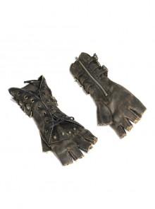 Side Metal Buckle Loop Metal Nail Lace-Up Brown Punk Leather Gloves
