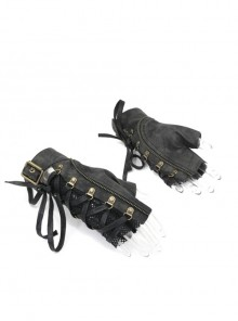 Metal Buckle Side Lace-Up Splice Mesh Black Punk Leather Men Gloves