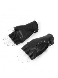 Metal Hasp Metal Eyelets Decoration Splice Mesh Black Punk Short Half-Finger Gloves