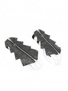 Metal Zipper Armor-Shaped Side Nail Black Punk Leather Gloves