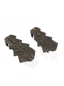 Metal Zipper Armor-Shaped Side Nail Brown Punk Leather Gloves