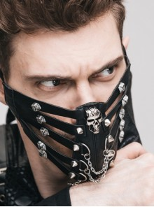 Skull Rivet Metal Chain Decoration Black Punk Hollow-Out Leather Mask