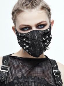 Metal Rivet Decoration Splice Mesh Black And Silver Leather Mask