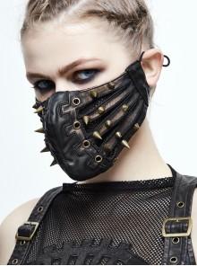 Metal Rivet Decoration Splice Mesh Black And Bronze Leather Mask