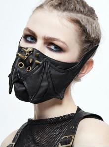 Front Metal Rivet Side Bat Wings Black Punk Rough Leather Mask