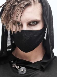 Black Punk Spider Web Pattern Knit Mask