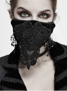 Front Decals Lace Beads Black Gothic Velvet Mask