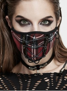Front Metal Eyelets Lace-Up Red Plaid Punk Knit Mask