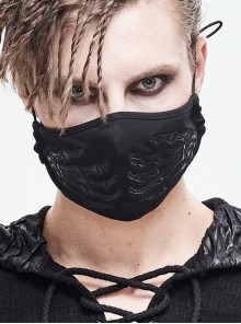 Leather Claw Pattern Embroidery Black Punk Knit Mask
