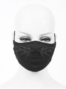 Front Wing Print Black Punk Knit Mesh Mask