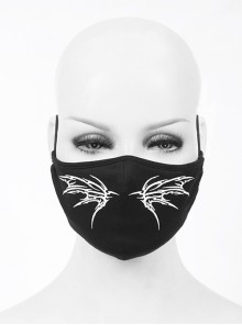 Front White Wing Print Black Punk Knit Mesh Mask