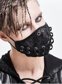 Torn Mouth Pattern Ribbons Lace-Up Black Punk Knit Mask