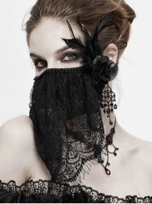 Front Beads Lace Side Feather Roses Decoration Black Gothic Mask