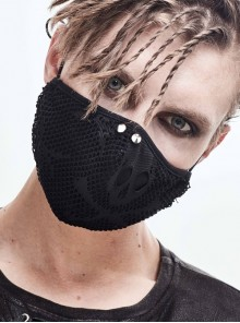Front Metal Rivet Rough Mesh Black Punk Mask