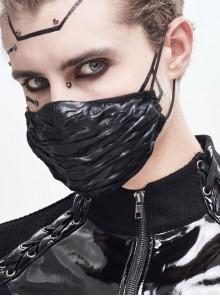 Black Punk Shiny Pleated Knit Mask