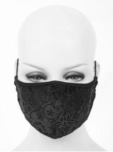 Black Gothic Velvet Embossed Mask