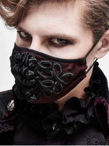 Front Chinese Knot Decals Chiffon Wine Red Gothic Mask