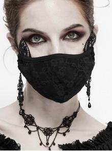Side Lace Cat Ear Decoration Rose Mesh Black Gothic Mask