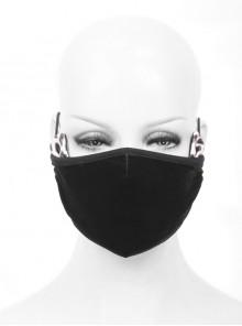 Side Leopard Pattern Leather Cat Ear Decoration Black Punk Dense Velvet Mask