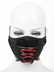 Front Red Lace-Up Lace Decals Black Gothic Dense Velvet Mask