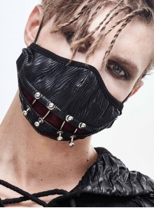Front Metal Nail Decoration Black Punk Bright Pleated Mask