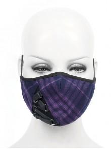 One Side Metal Buckle Bandage Purple Scotch Plaid Punk Mask