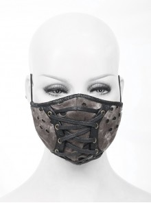 Front Metal Eyelets Lace-Up Grey Tie-Dyed Broken Holes Knit Punk Mask