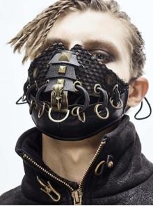 Metal Rivet Bandage Decoration Broken Holes Mesh Brown Punk Mask