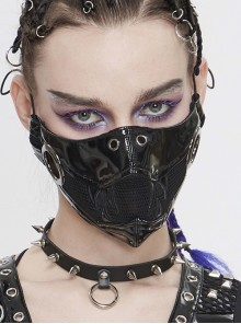 Metal Ring Decoration Splice Mesh Tooth-Shaped Decals Black Punk Mirrored Leather Mask