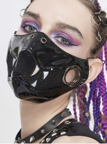 Metal Ring Decoration Splice Mesh White Tooth-Shaped Decals Black Punk Mirrored Leather Mask