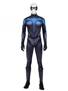 Titans Season 3 Nightwing Dick Grayson Battle Suit Halloween Cosplay Costume Printing Version Full Set