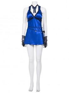 Final Fantasy VII Remake Tifa Lockhart Blue Sexy Backless Dress Halloween Cosplay Costume Full Set