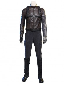 The Falcon And The Winter Soldier Winter Soldier Bucky Barnes Brown Jacket Set Halloween Cosplay Costume Set