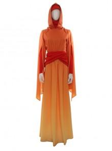 Star Wars Episode I The Phantom Menace Padmé Amidala Orange Gradient Dress Halloween Cosplay Costume Full Set
