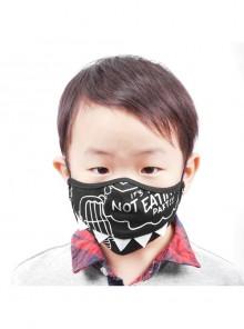 Black Punk Dinosaur-Printed Kids Mask