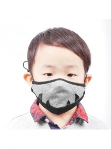 Black Tusk Decoration Grey Punk Knit Kids Mask