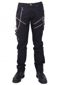 Side Skull Tri-Glide Buckle Metal Chain Decoration Leather Leg Loop Black Punk Twill Trousers