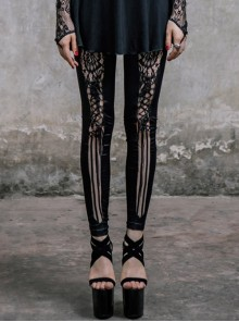 Front Splice Mesh Lace-Up Black Gothic Knit Legging
