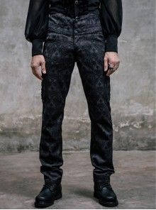 Side Discoid Flowers Back Waist Lace-Up Black Gothic Jacquard Trousers
