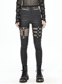 Metal Eyelets Belt Front Splice Mesh Metal Rivet Leg Loop Black Punk Legging