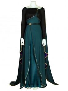 Frozen II Anna Dark Green Dress With Cloak Halloween Cosplay Costume Full Set