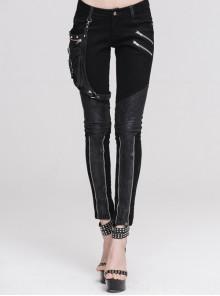 Women Metal Ring Decoration Leg Bag Black Punk Twill Pants