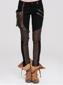 Women Metal Ring Decoration Leg Bag Brown Punk Twill Pants