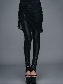 Rose Lace Mesh Outer Skirt Black Gothic Faux Leather Legging